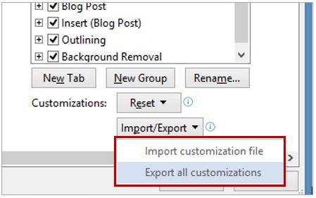 Export Ribbon Customization
