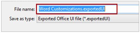Export Ribbon Customization creates an ExportedUI file