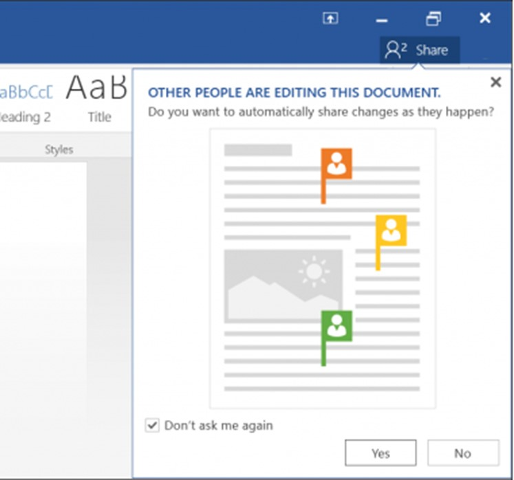 Collaborate real-time from within Microsoft Word 2016