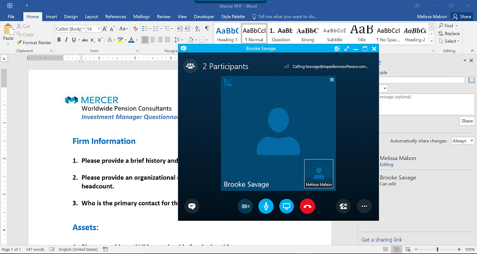 Select Skype to video conference with co-author from within Microsoft Word 2016