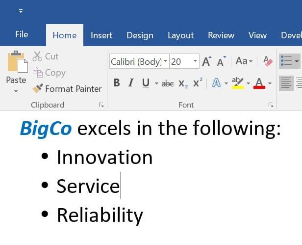Excel Bullets Image 2