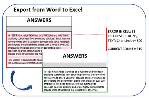 export from word to excel