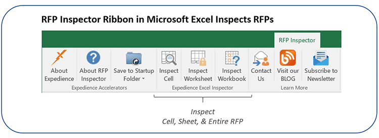 RFP Inspector Ribbon in Microsoft Excel Inspects RFPs