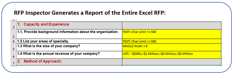 RFP Inspector Generates a Report of the entire Excel RFP