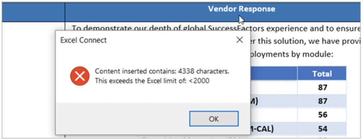 Inspect data validation restrictions of an Excel RFP directly from Word