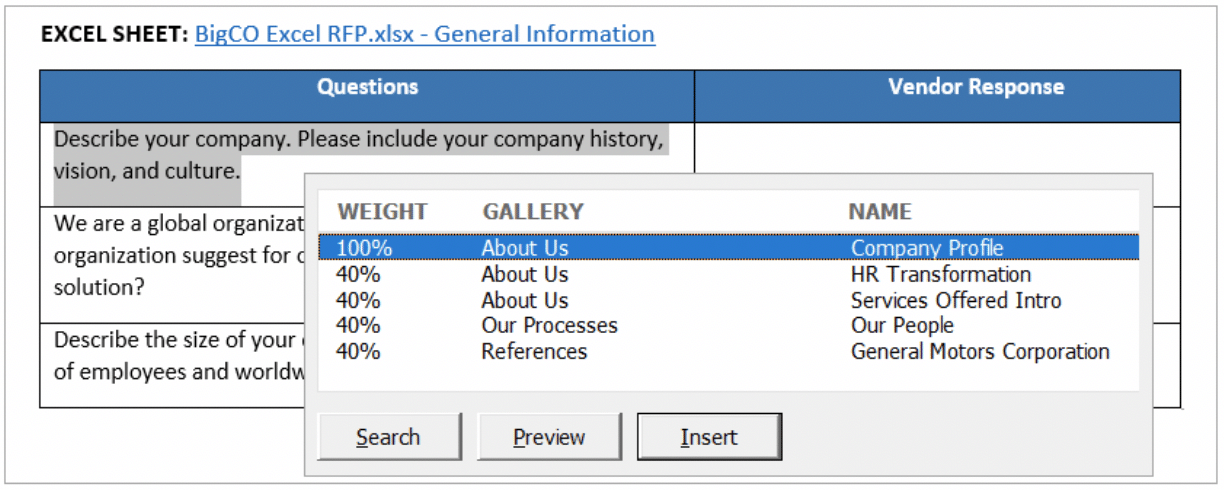 Excel RFP Solution lets you search and insert answers directly from your content library