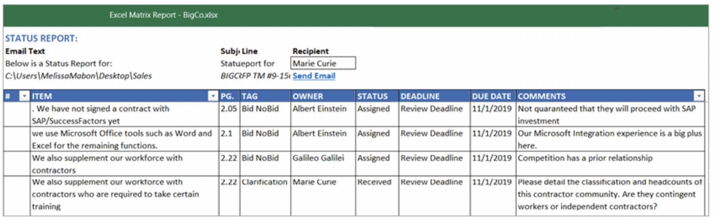 comprehensive compliance matrix in Microsoft Excel