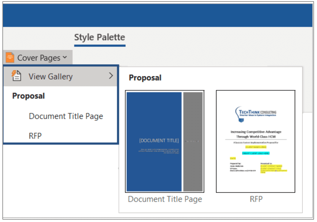 Proposal Elements that are Consistent and Customizable