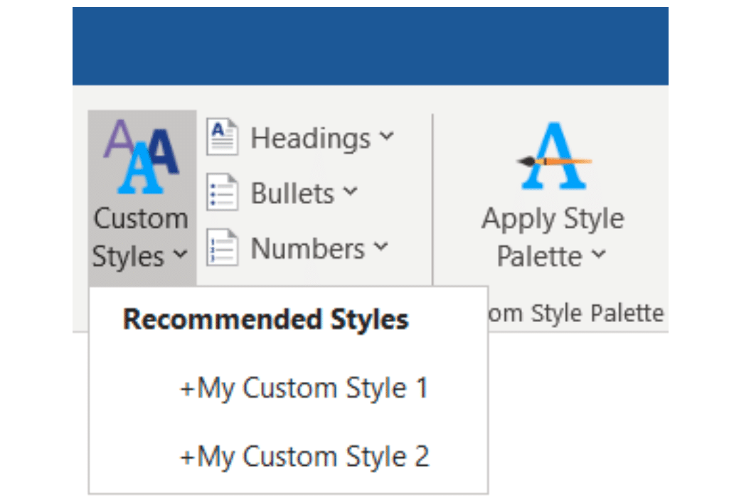 Expedience contains all of your approved formatting styles, such as body text, headings, bullets, and more.