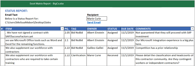 Generate great reports including full compliance matrix for your proposal management